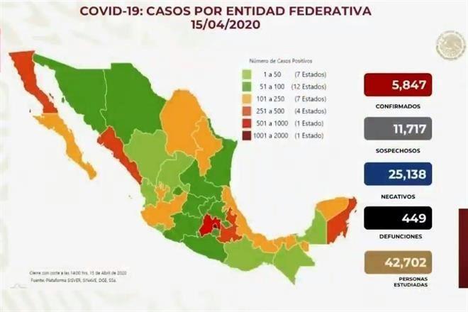 Suman 449 muertes por Covid-19 y 5,847 contagiados