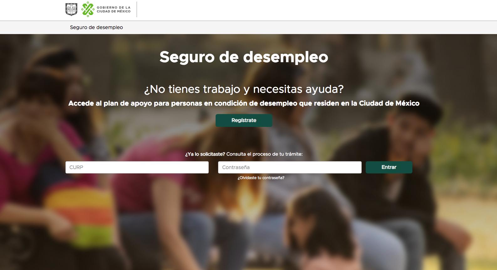 Trámite de Seguro de Desempleo de la CDMX por internet