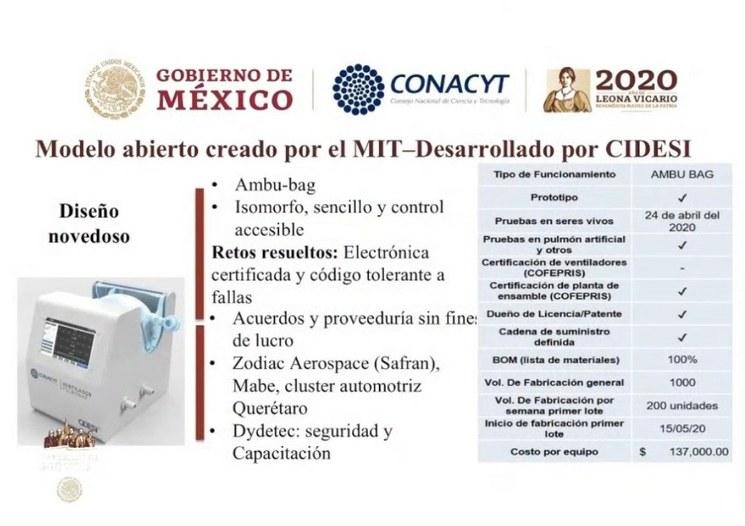Ventilador para Covid-19 diseñado en Edomex será producido en masa
